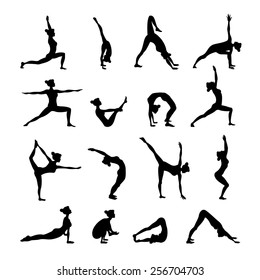 Healthy women in balance harmony poses in yoga icons set black isolated vector illustration
