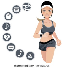 Healthy young jogging woman wears smart device with touchscreen.File contains Gradient, Gradient mesh, Clipping mask, Transparency.