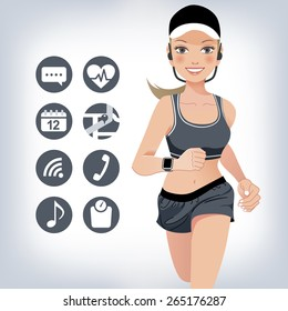 Healthy young jogging woman wears touchscreen smart device
