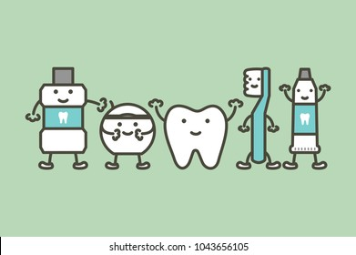 healty tooth and funny friend toothbrush, toothpaste, mouthwash and floss, dental care concept - teeth cartoon vector flat style cute character for design