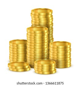 Heap of 3d coins or heap of realistic golden money. Gold casino shining cash. Tower or pile. Pay or payment, banking and finance, economy and investment, financial earnings, cash theme
