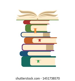 Heap of books icon. Brochures with hardcover stacked on each other, opened book on top. Symbol of knowledge, library, study at school or university. Education concept. Flat vector illustration.
