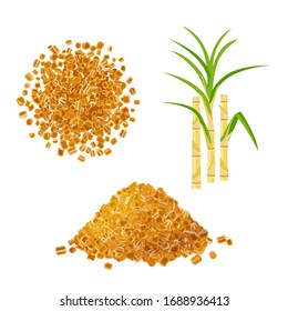 Heap of brown rock cane sugar and sugarcane stems with leaves. Vector illustration cartoon flat icon set isolated on white background.