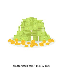 Heap of cash money and coins. Dollars money vector illustration.