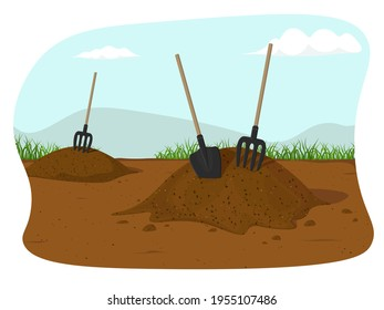 Heap of earth, heap of soil. Vector illustration on white background. Hayfork In A Pile Of Substrate. Vector illustration EPS10