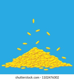 Heap of golden coins. Mountain of treasure. A lot of money. Vector illustration isolated on transparent background.