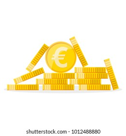 Heap of the golden euro coins in flat design. Vector illustration. Euro growth concept