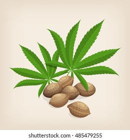 Heap of hemp seeds with leaves. Vector illustration.