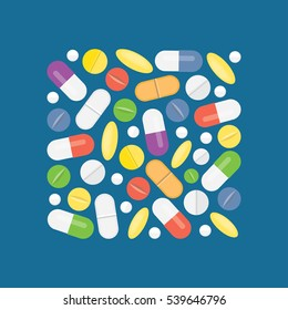 Heap of medical pills and tablets, capsules, drug. Different medications. Vector illustration. Flat style