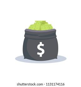 Heap of money in the bag vector illustration