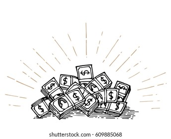 heap of money hand drawing with star burst