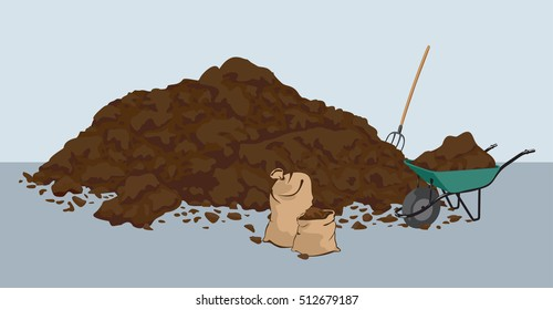 Heap of muck manure. Organic fertilizer. Organic farming. Bio dynamic agriculture. Vector illustration