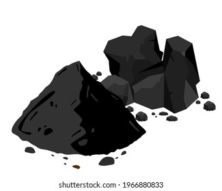 Heap of natural broken black activated charcoal granular and powder isolated on white background. Icon vector illustration.