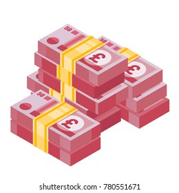 Heap of pound sterling. Big pile of english money. Money icon in isometric style. Money illustration of wealth and condition.