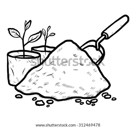 Heap Soil Young Plant Plastic Bag Stock Vector (Royalty ...