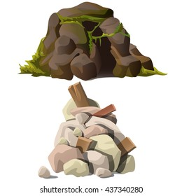 A heap of stones and ruins. Vector.