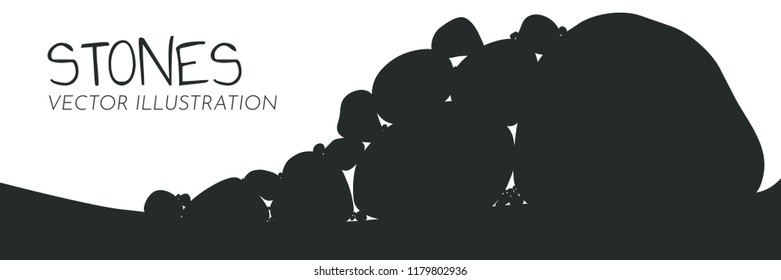 A heap of stones silhouettes