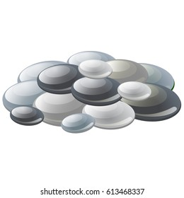 Heap of zen basalt spa stones or gray pebbles isolated on white background. Vector cartoon close-up illustration.
