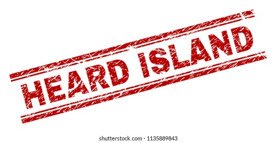 HEARD ISLAND stamp seal watermark with distress style. Red vector rubber print of HEARD ISLAND caption with dirty texture. Text caption is placed between double parallel lines.