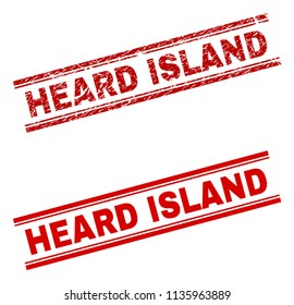 HEARD ISLAND stamp seal watermark with distress and clean styles. Red vector rubber print of HEARD ISLAND text with scratched texture. Text tag is placed between double parallel lines.
