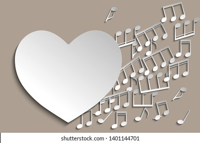 Heard and note. Favourite music. I love music template, heart made with notes, contain copy space inside for your text. Music theme design template. Paper cut style. Vector illustration.