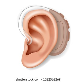Hearing aid aerophone behind organ ear human health care closeup realistic 3d isolated on white icon design vector illustration