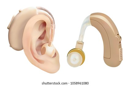 Hearing aid behind the ear. Sound amplifier for patients with hearing loss. Treatment and prosthetics in otolaryngology. Medicine and health. Realistic object. Vector illustration