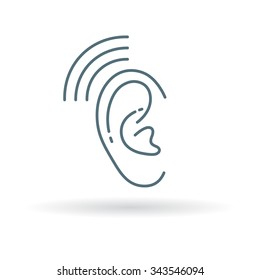 Hearing aid icon. Ear sign. Volume symbol. Thin line icon on white background. Vector illustration.
