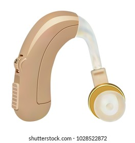 Hearing aid. Sound Amplifier BTE for patients with hearing loss. Medicine and health. Realistic object on a white background. Vector illustration.