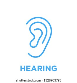 Hearing icon. Human body ear symbol. Listen sign. Blue vector graphic line style illustration isolated on white background.