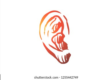 Hearing, listen, ear, deaf, care, medicine concept. Hand drawn human ear, symbol of hearing concept sketch. Isolated vector illustration.