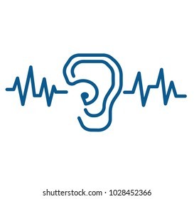 Hearing loss icon.ENT logo template clinic.Otolaryngology Ear waves ,doctor specialists.Anatomy, audiologist.logo concept. Line vector icon.Flat linear illustration.ear canal outline icon.hearing aid