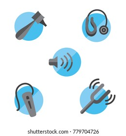 Hearing loss solid icon set with Otoscope, tuning fork & hearing aids