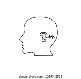 Hearing loss.outline vector Icon image for hearing or listening loss.Anatomy, audiologist.logo concept. ENT logo template clinic.hearing aid