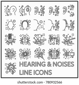 Hearing and noises line icon graphic design, Set of safety hearing health line icons