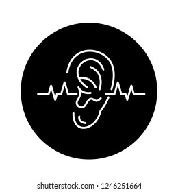 Hearing test black icon, vector sign on isolated background. Hearing test concept symbol, illustration