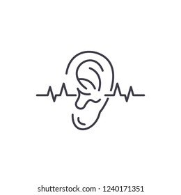 Hearing test line icon concept. Hearing test vector linear illustration, symbol, sign