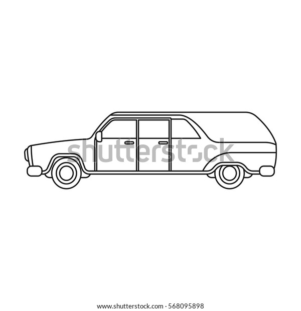 Hearse icon in outline style isolated on white background. Funeral ceremony symbol stock vector illustration.