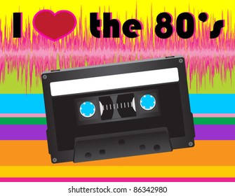 I Heart the 80's with Retro Cassette Tape and Rainbow Background