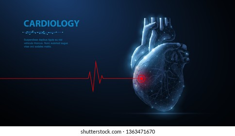 Heart. Abstract 3d vector human heart isolated on blue. Red cardio puls line. Anatomy, cardiology medicine, organ health, medical science, life healthcare, illness concept illustration or background