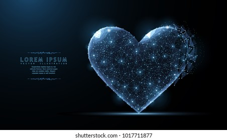 Heart. Abstract polygonal wireframe mesh art with crumbled edge on blue night sky with dots, stars and looks like constellation. Valentine day, greeting, health, Concept illustration or background