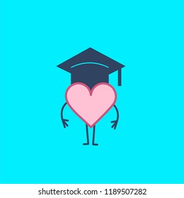 Heart in academic cap. Vector concept illustration of emotional intelligence smart heart and emotions | flat design linear infographic icon on blue background