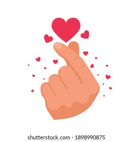 Heart after clicking fingers. Romantic clicking fingers. The magic gesture of a lover. Template for the print and web. Vector illustration flat design. Isolated on white background.