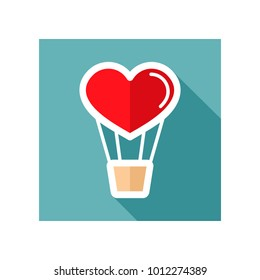 Heart air balloon thin line icon. Valentines day symbol. Vector illustration, romance elements. Sticker, patch, badge, card for marriage, wedding