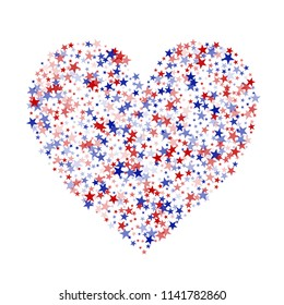 Heart of American Patriotic Stars Confetti. 4th of July Pattern Design. Liberty Patriotic Texture. Business Presentation Stars Background.