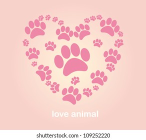 Heart animal's footprints illustration vector