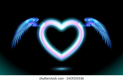 Heart anime neon with wings, blue glow radiant effect of love with space for Valentines day. Decorative holiday design, night romance concept love. Dark vector art and illumination illustration