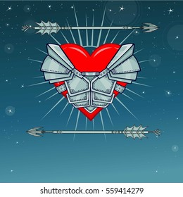 Heart in armor. Background - the night star sky. Vector illustration. Print, posters, t-shirt, card.