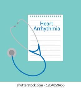 Heart arrhythmia written in a notebook- vector illustration