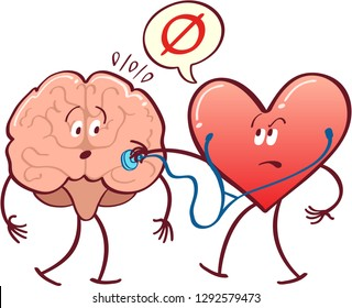 Heart in arrogant mood checking what's inside a brain with a stethoscope. It's confirming that there's nothing by putting a null symbol inside a speech bubble. The heart looks nervous and disconcerted